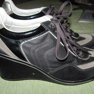 Geox Wedge Shoes Black Gray Size 39 9 8.5 Lace Up